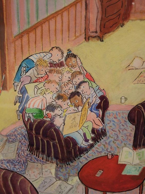 children reading books art